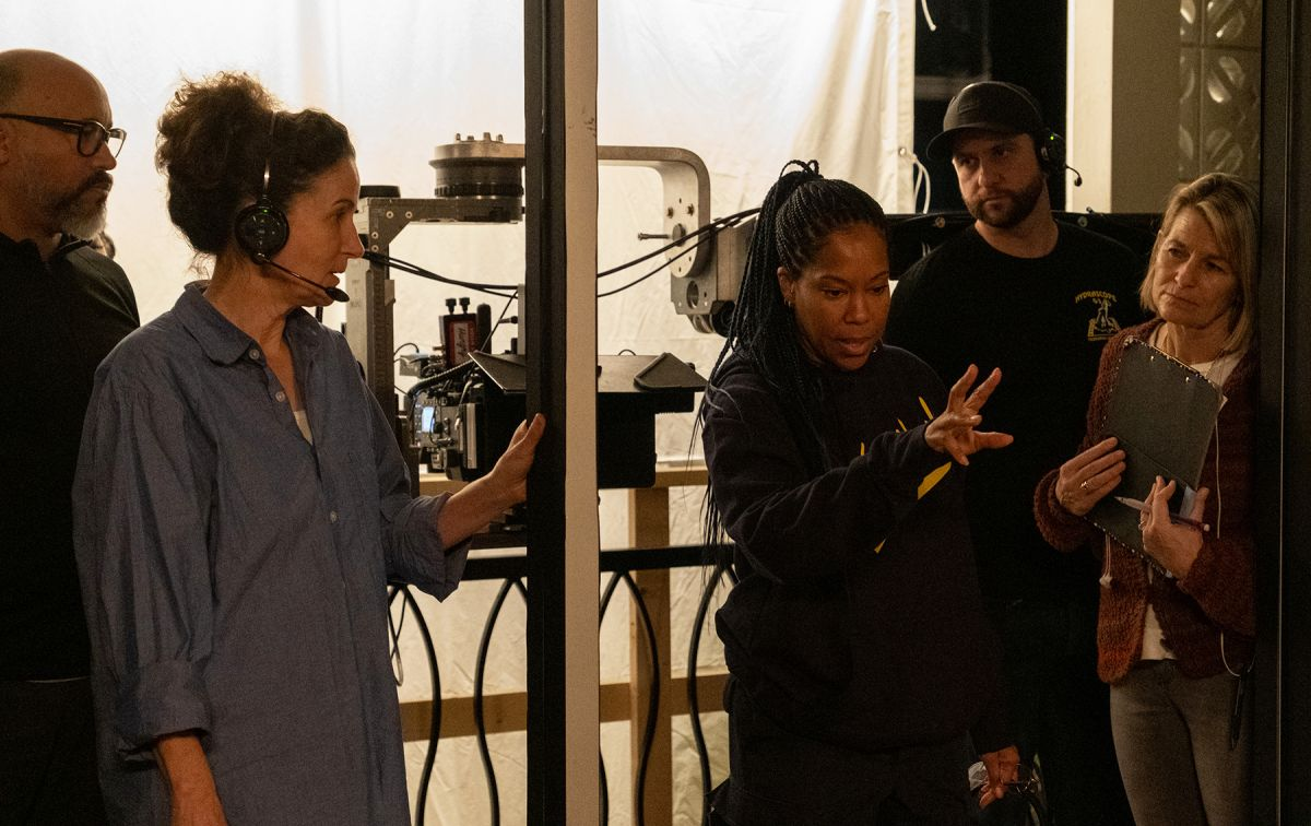 Tami Reiker, ASC with director Regina King and crew.