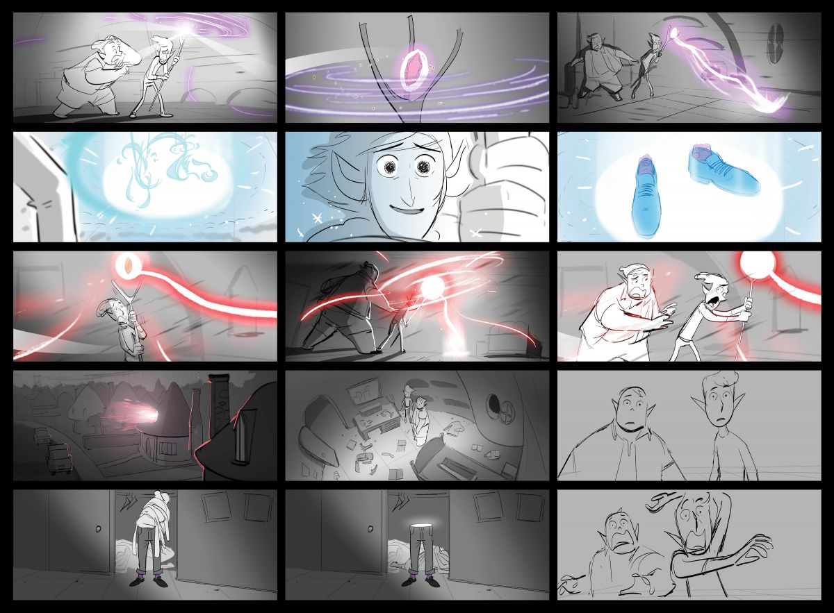 "This storyboard by Le Tang was one of approximately 488 boards for the ""Conjuring Dad"" sequence."