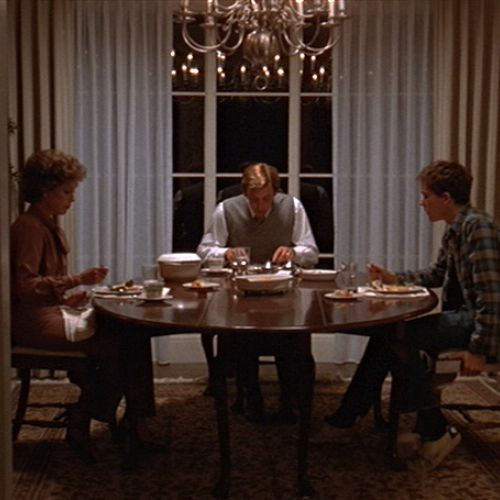 The Jarrett family — Beth (Mary Tyler Moore, left), Calvin (Donald Sutherland, center) and Conrad (Timothy Hutton) — share an evening meal.