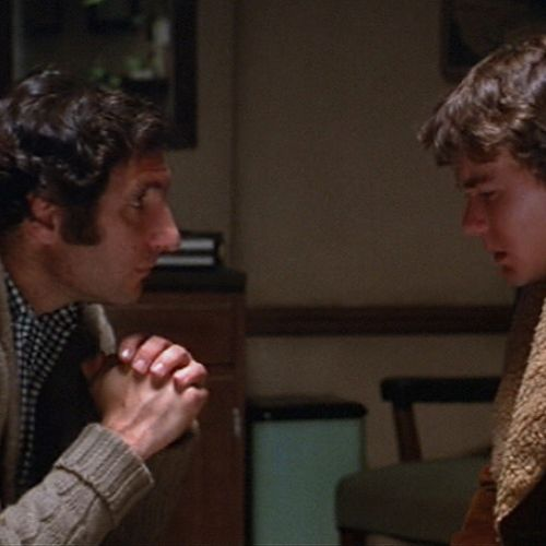 "Conrad (Timothy Hutton, right) pays a late-night visit to Dr. Berger (Judd Hirsch) at a critical moment. ""The five scenes in this office are the heart of the movie,"" notes cinematographer John Bailey."