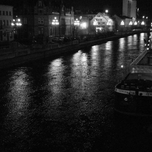 Brda river by night