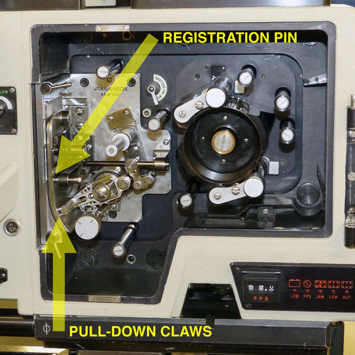 Arrows point to one of the dual registration pins, and one of the pull-down claws
