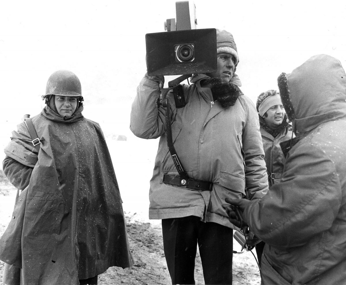 "Koenekamp with one of the three ""small"" portable 65mm Todd AO AP cameras."