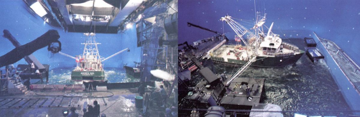 Two views of the 72' Andrea Gail mockup floating within the Warner Bros, soundstage, where it was surrounded by a greenscreen to facilitate the later addition of digital visual effects. Note the hydraulic crane base (right photo) that was specially built in the water tank by engineering wizard Ralph Kerr; the platform could lift four feet out of the water to clear the waves and allow the crew more shooting flexibility.