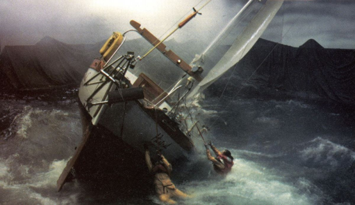 A 32' sloop is buffeted by man-made wind and waves within Stage 16 at Warner Bros.