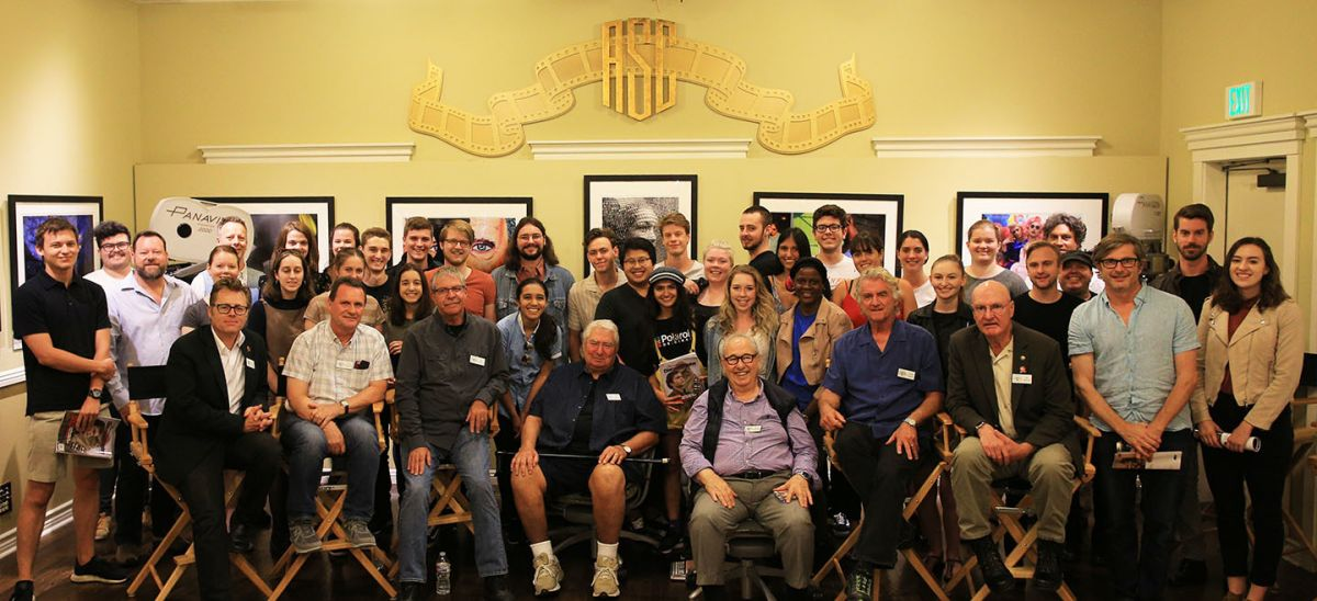 ASC members (front row, from left) Cady, Berryman, Maibaum, Semler, Dibie, Minsky and Bennett with the QUT students, including Olivia Holt (behind Minsky and Bennett), Kairavi Desai (behind Semler and Dibie) and Alex Shingles (behind Desai in white shirt) with lecturers Jason Tolsher (behind Cady in white shirt) and Sean Mahar (two rows behind Cady).