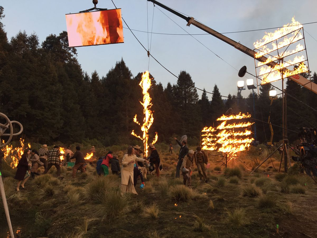 For a sequence in which the fatherless family visits an uncle in the country for the Christmas holidays, a New Year's celebration is interrupted when Cleo spots a fire spreading in a nearby forest — and everybody rushes out to try to extinguish the flames. Cuarón wanted to illuminate the scene by fire. Special-effects supervisor Alejandro Vázquez had several rigged trees and shrubs burning in a clearing in the foreground, amplified by gas-controlled flaming grills — as big as 20'x12' — suspended from cranes and tripods.