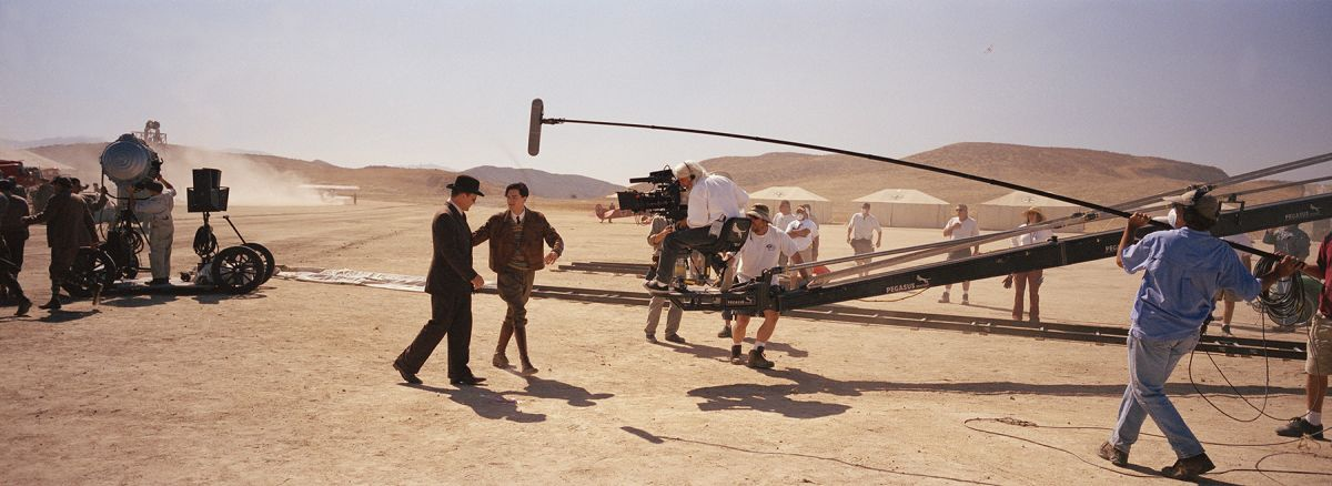 Richardson operates a crane shot on DiCaprio and John C. Reilly while shooting The Aviator.