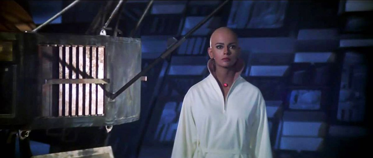 Actress Persis Khambatta, whose shaved head offered certain technical challenges, as did the practical red light at her throat.