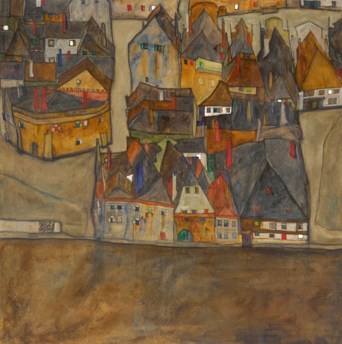 City in Twilight by Egon Schiele