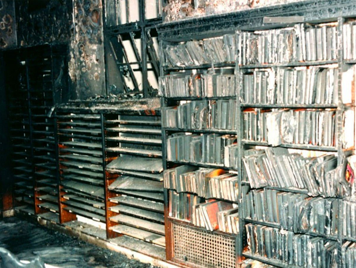 A glimpse of the aftermath of the Los Angeles Central Library fire in 1986.