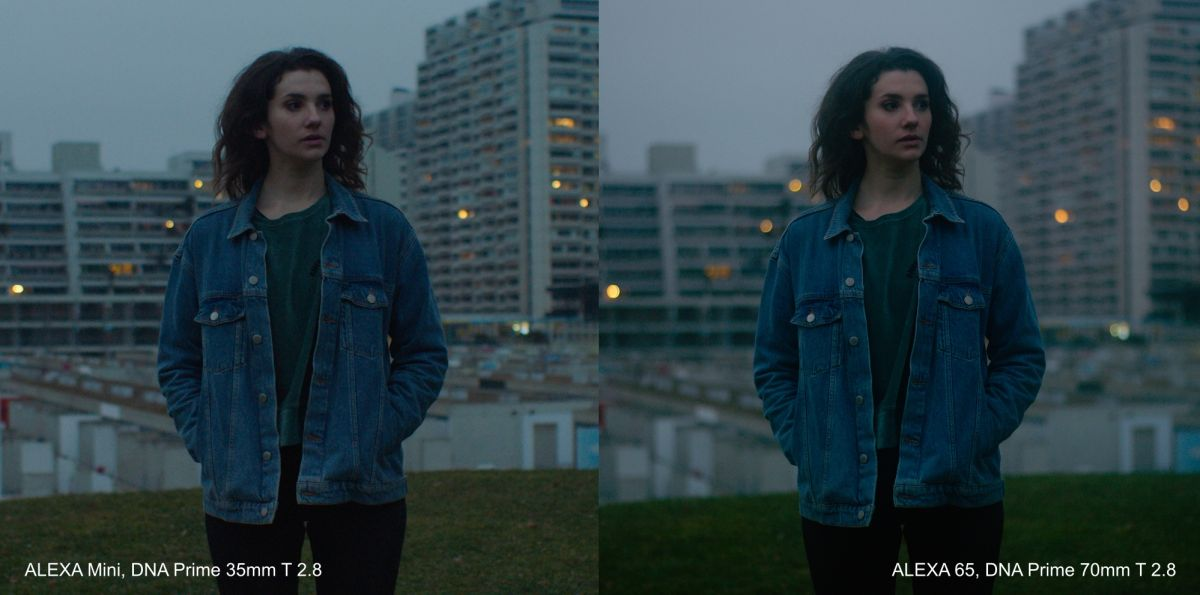 The difference in depth of field when matching field of view with two different lenses: a 35mm on the Mini and a 70mm on the 65, both at a T2.8.