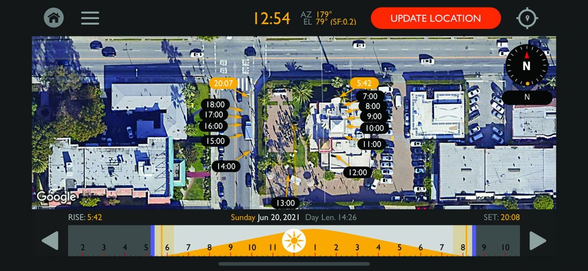 A screenshot from Chemical Wedding's Helios Pro sun-tracking app, which presents the direction of the sun's rays at specific times during a specified day. At the center of the image is the ASC Clubhouse in Hollywood, where an event is taking place.