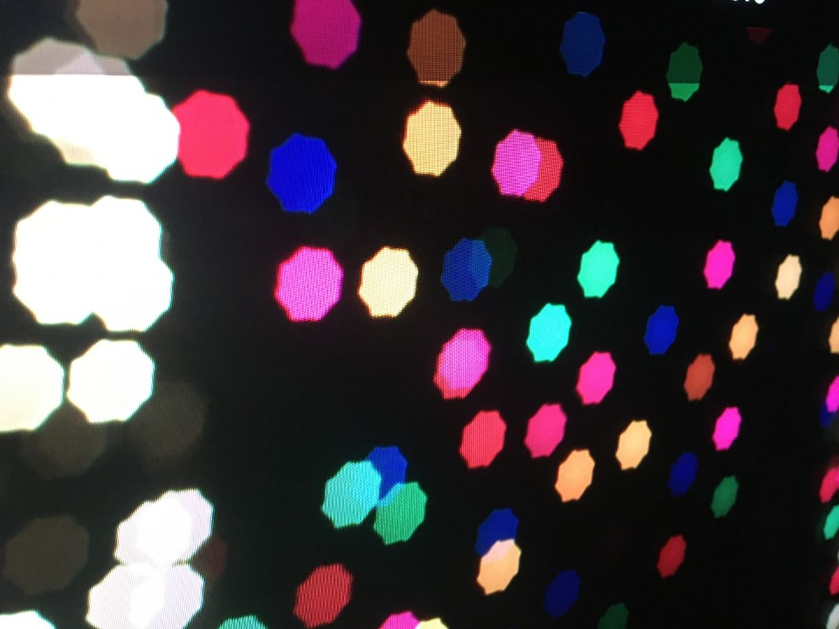 A photograph of a monitor looking at the bokeh from a Lomo Super Speed during a lens test.