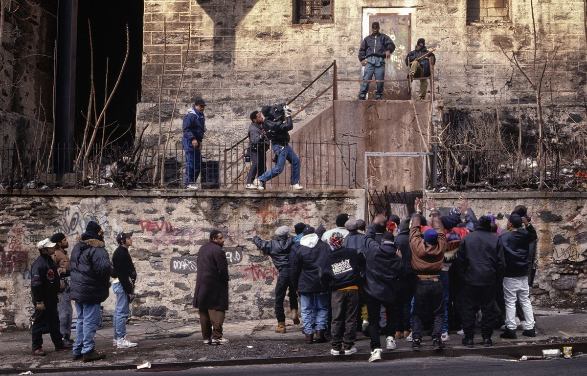 """On the set of the music video for """"Uptown Anthem,"""" which Simmons shot for the hip-hop trio Naughty by Nature. (Photo by Lamont Crawford)"""