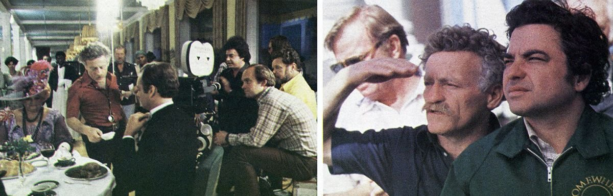 On the left, Mankofsky and his team set up on location in the Grand Hotel. On the right, the cinematographer and director plot their next shot.
