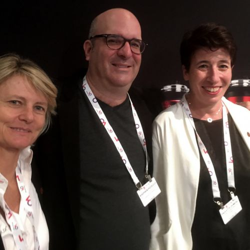 Stephen Pizzello between Edith Bertrand and Paulette Dumerc from Angenieux