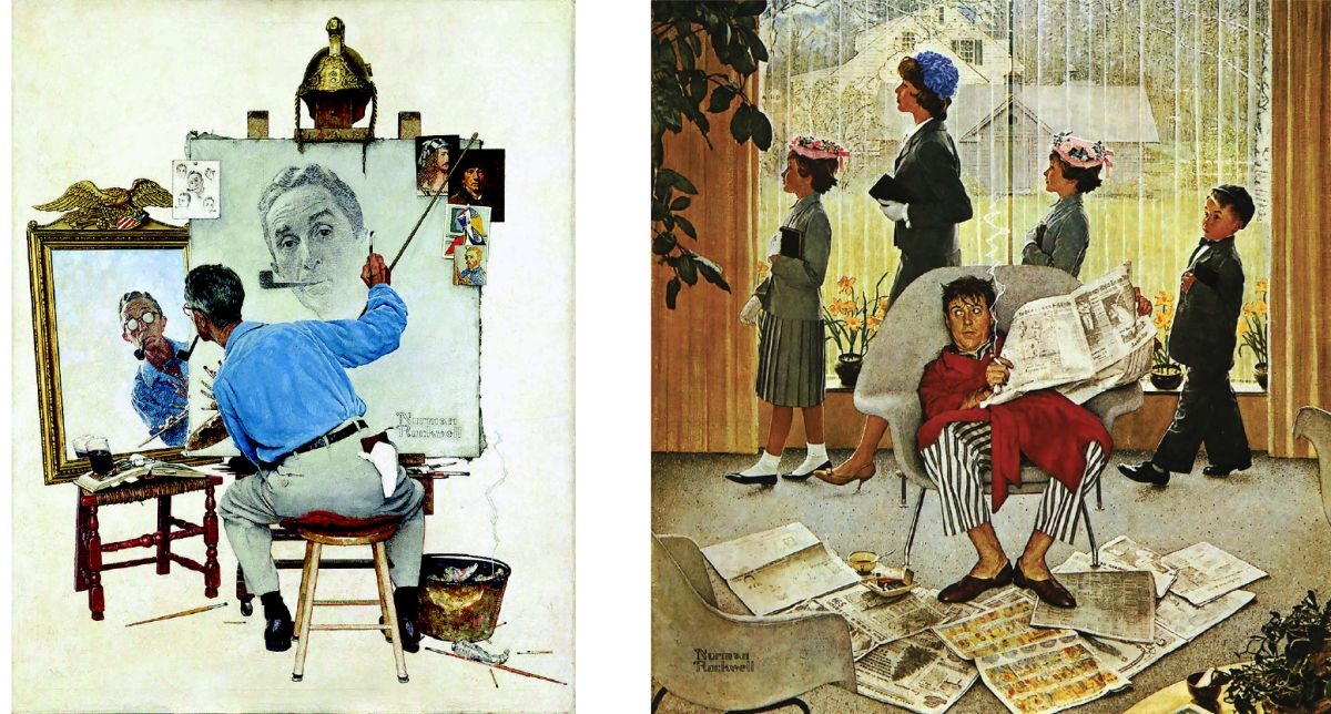 "Images 18 - Norman Rockwell's ""Rockwell Painting"" and 19 - Norman Rockwell's ""Easter Morning"""