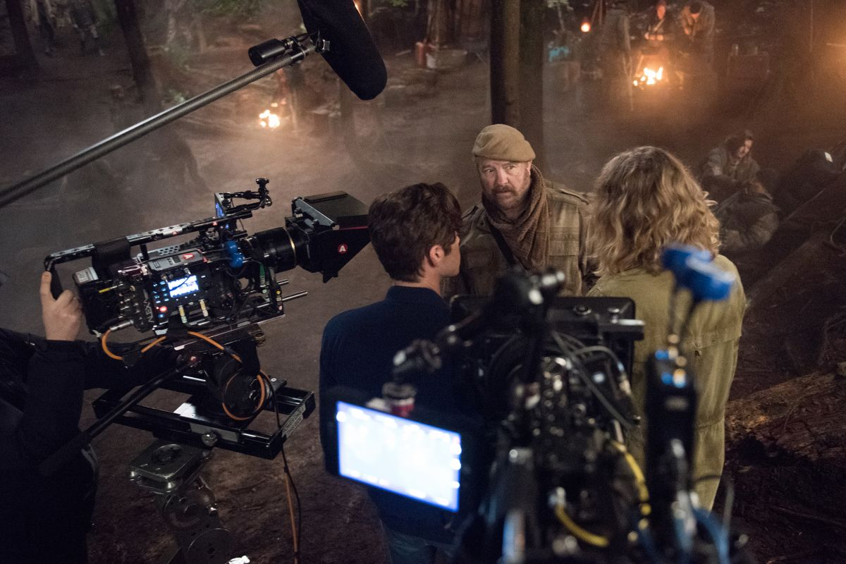 "Two cameras cover a scene with actors Alexander Calvert (back to us), Jim Beaver and Samantha Smith while shooting the Season 13 episode ""Good Intentions,"" set in an Alternate Universe world."