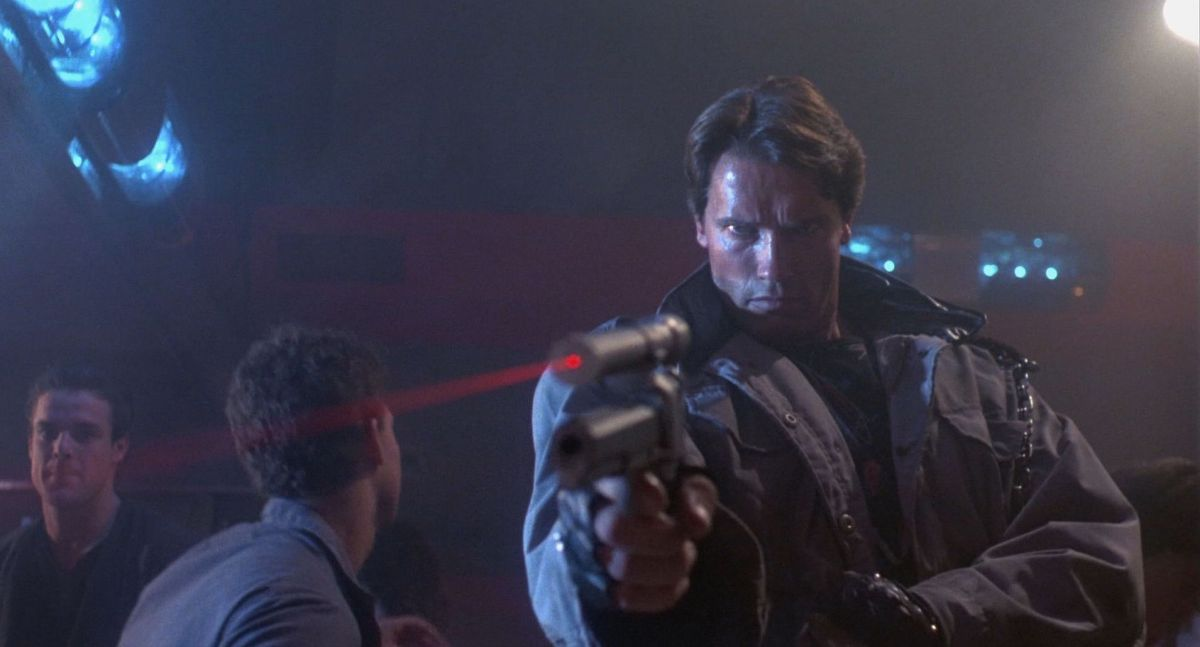 "At the ""Tech-Noir"" nightclub, the Terminator moves in to kill target Sarah Connor (Linda Hamilton)."