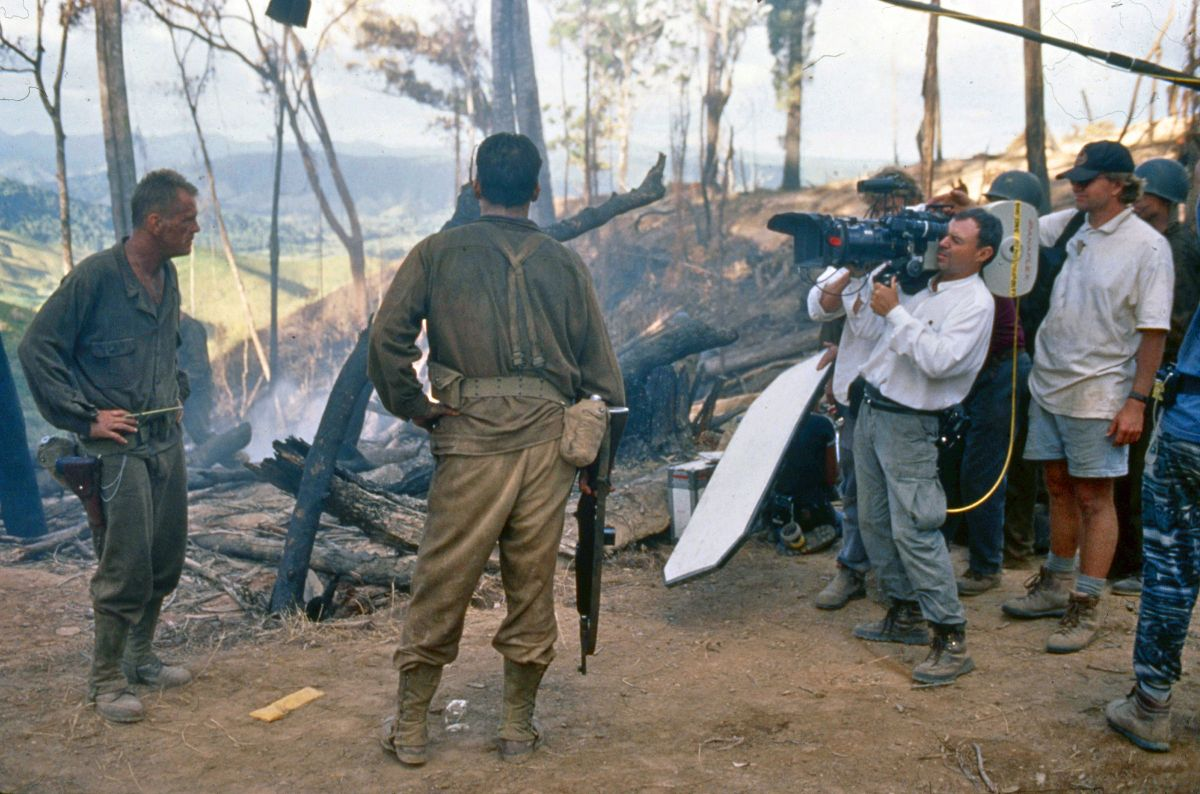 Toll zeroes in as Captain Gaff (John Cusack, back to camera) confronts his commanding officer, Lt. Colonel Tall. To effectively capture the characters' facial expressions in this key scene, Toll kept the actors in broken sunlight softened with smoke. White fill and black negative were used to further shape the light.