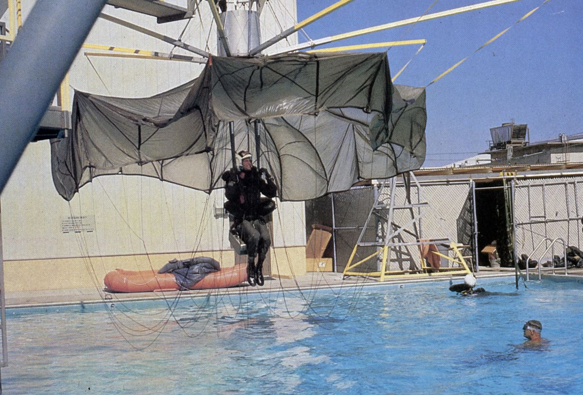 How to land in water using a parachute. (Photo by Ralph Nelson/Paramount)
