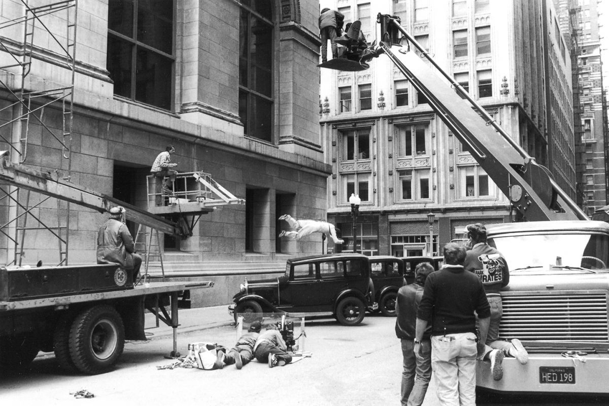 With multiple cameras, Burum captures the gruesome end of gangster Frank Nitti. This was filmed outside the Chicago Cultural Center.