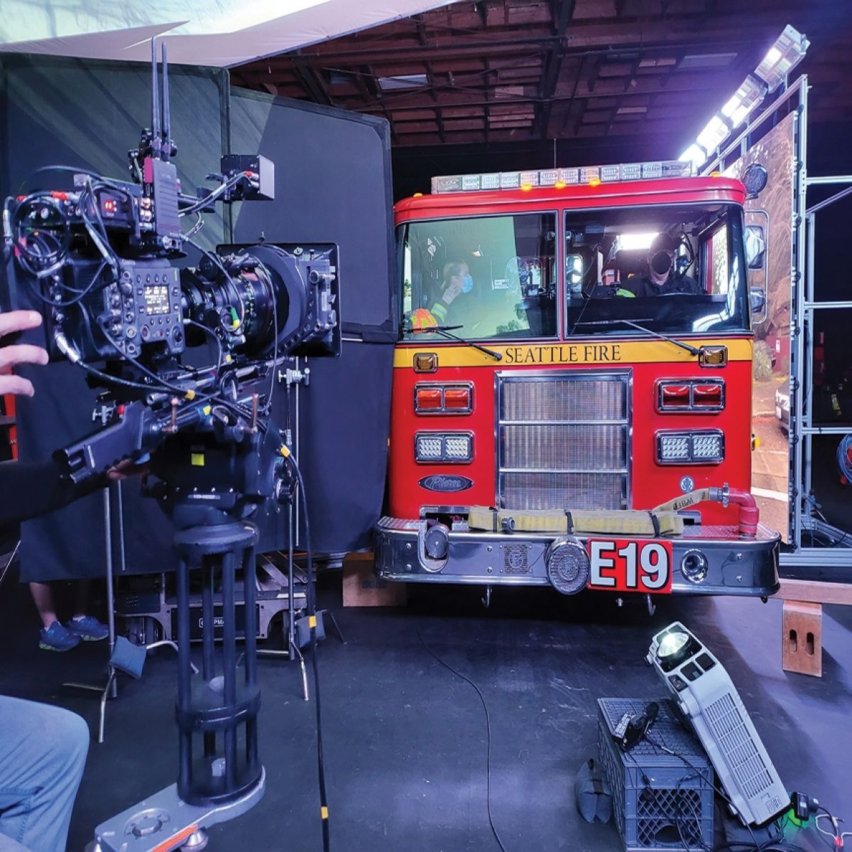 The ABC series Station 19 has adopted in-camera visual effects for driving scenes, with the aid of LED-wall and virtual-production systems at Stargate Studios. (Photo courtesy of Sam Nicholson, ASC.)