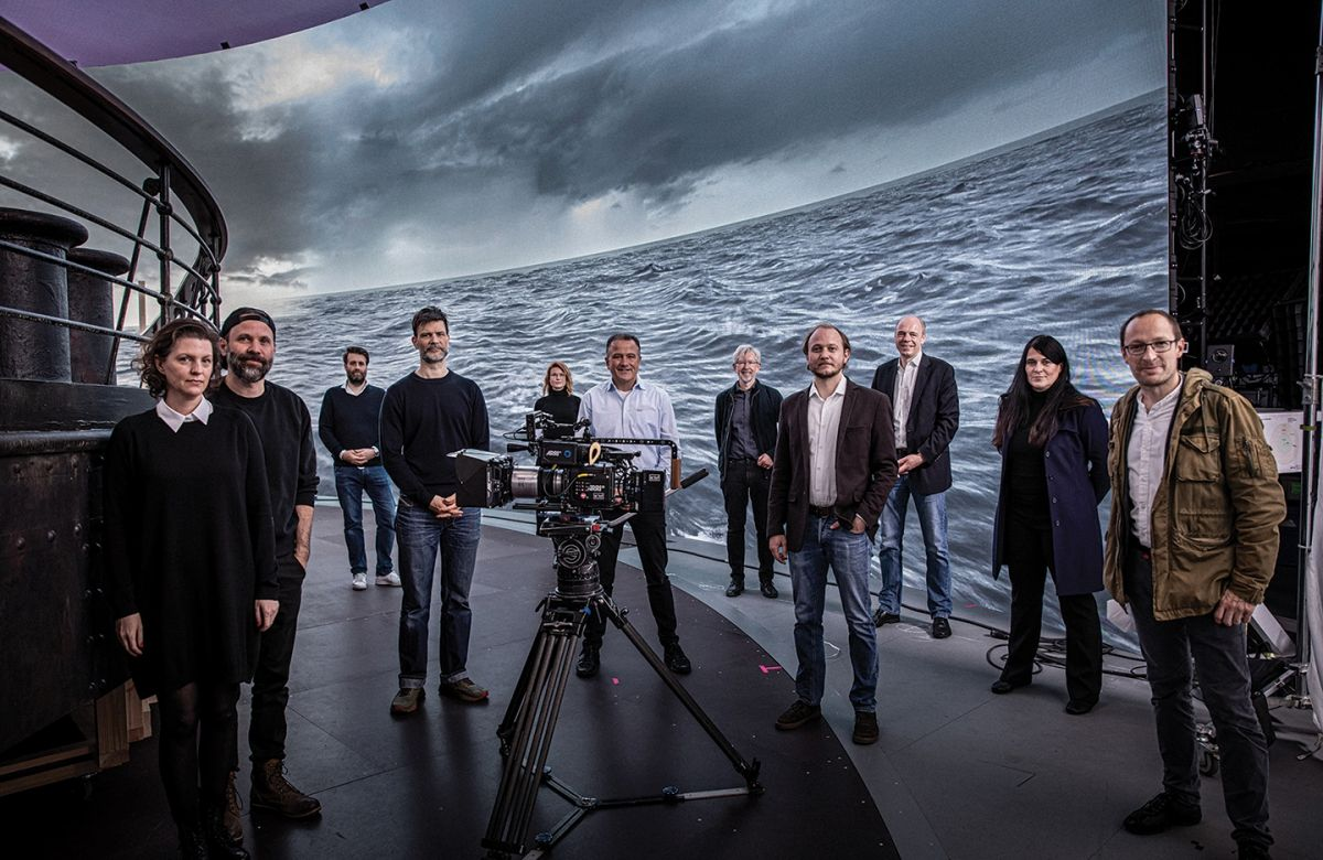 Cinematographer Nikolaus Summerer (fourth from left) and colleagues on the set of Netflix's 1899. The production employs an LED volume at Germany's Dark Bay Virtual Studio, built in association with the Arri Solutions Group. (Photo courtesy of Arri Inc.)