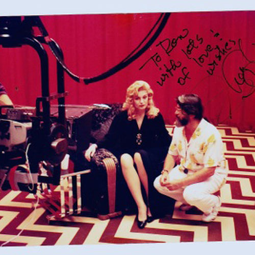 "Ron Garcia, ASC, and actress Sheryl Lee in the infamous ""red room."""