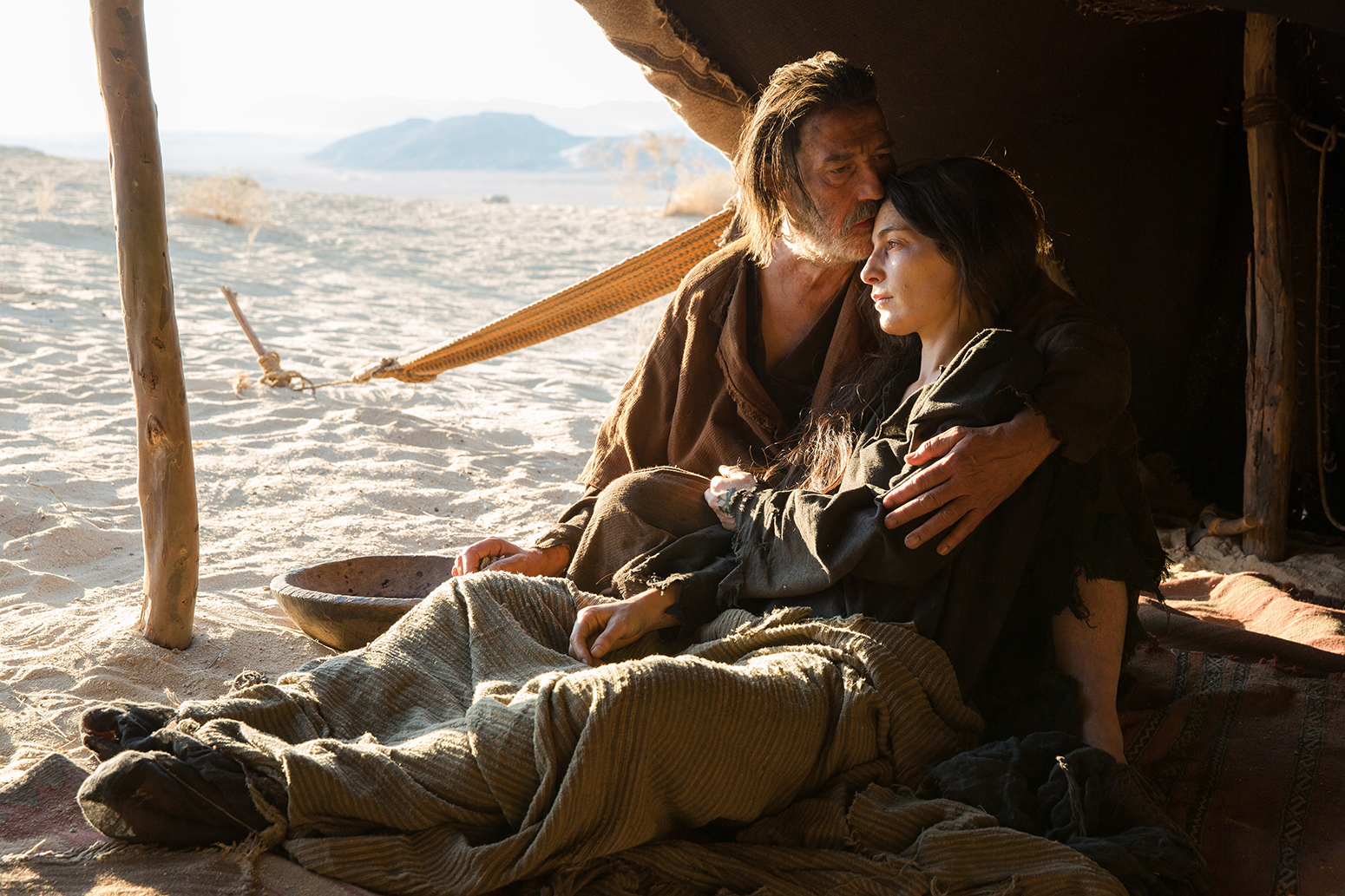 Jesus encounters a man (Ciaran Hinds) and his ailing wife (Ayelet Zurer) during his journey.