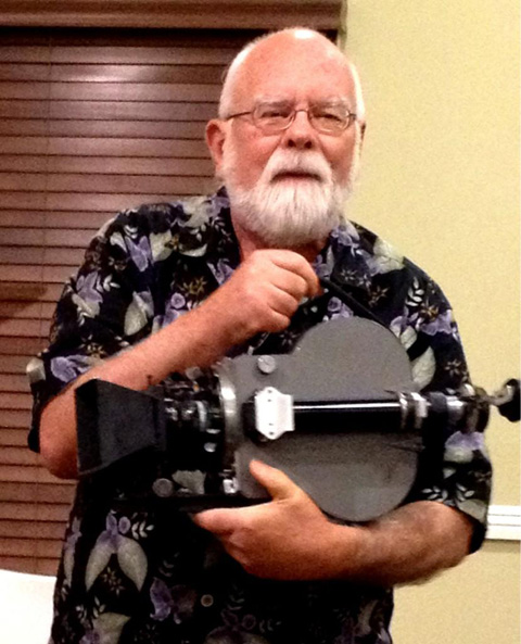 Peter is the proud owner of this Cinephone 35mm camera, which used to belong to Hal Mohr, ASC. Photo by Bill Bennett, ASC.