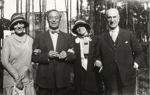 Left to right: Irene Guggenheim, Vasily Kandinsky, Hilla Rebay, Solomon R. Guggenheim in Dessau, Germany, 1930.