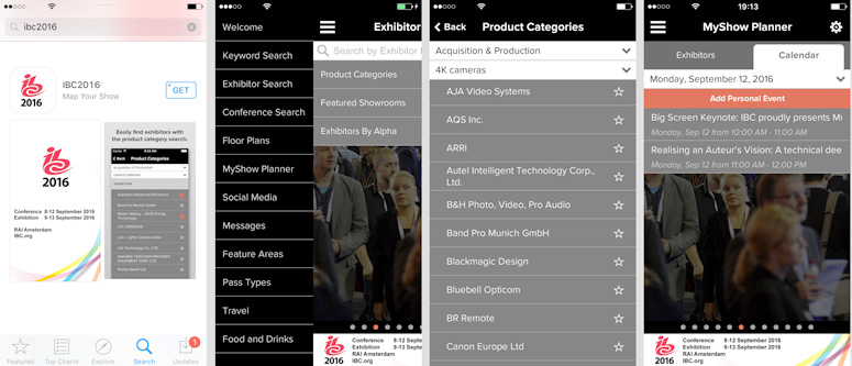 Screens from the IBC app