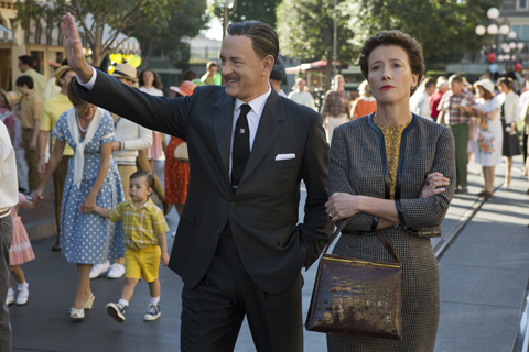 For SAVING MR. BANKS, John Schwartzman had the opportunity to shoot in a period-dressed Disneyland. In the film, Tom Hanks plays Walt Disney and Emma Thompson plays Mary Poppins author P.L. Travers. (Photo courtesy of Walt Disney Pictures.)